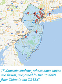 18 domestic students, whose home towns are shown, are joined